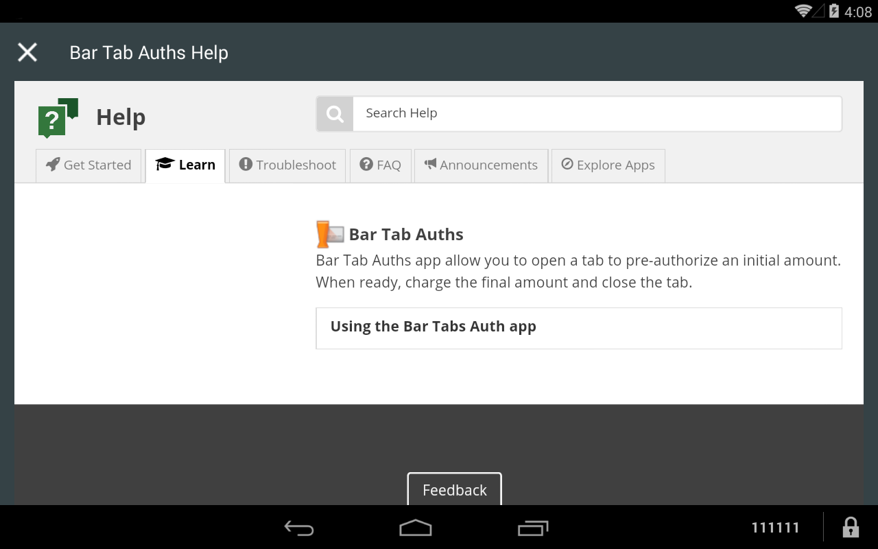 Bar Tabs Auth Menu